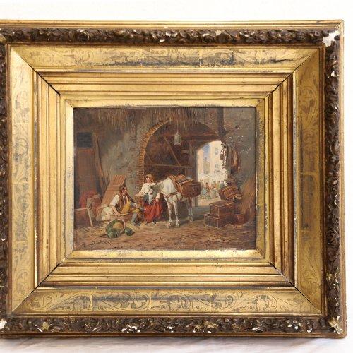 Quaglio, Franz. Händler unter einem Torbogen. Öl/Holz. 29,5 x 25,5 cm. Sign., dat. 1895
