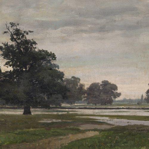 Willroider, Ludwig. Weite Sommerlandschaft. Öl/Hartfaser. 27,5 x 44 cm. Sign.
