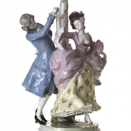Lampe. Steingut.Tanzendes Paar. Walter & Marcell Goldscheider, Wien. Art Deco. H. 100 cm.