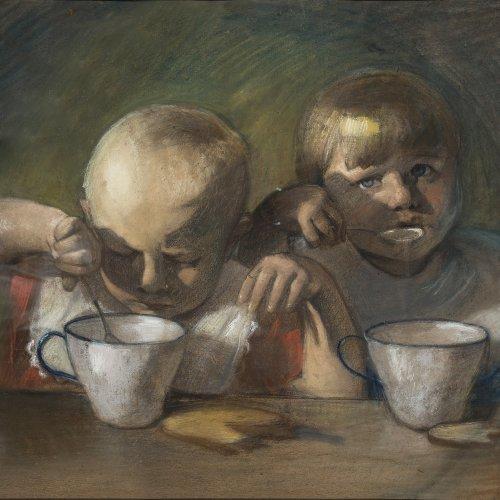 Zumbusch, Ludwig von, zugeschrieben. Zwei Kinder beim Essen. Mischt./Papier. 51 x 61 cm.  Sign.