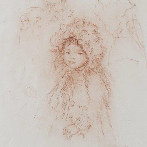 Renoir, Auguste, zugeschrieben. Rötelzeichnung. Cachestempel. Blatt wellig. Min. Lichtrand. 23,2 x 19 cm.
