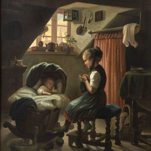 Hohenberg, Rosa. Junges Mädchen mit schlafendem Kind. ÖL/Kupfer.