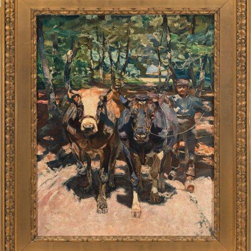 Zügel, Heinrich von. Kuhtreiber. Öl/Lw. 87,5 x 70 cm. WVZ. Eugen Diem, Nr. 611.