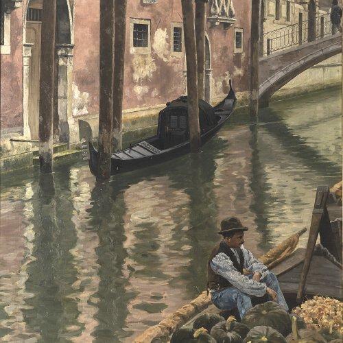 Ravenstein, Paul von. Melonenverkäufer in Venedig. Öl/Lw. 107 x 82 cm. Sign.