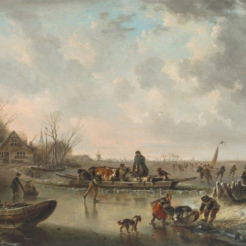 Gemälde, Niederlande, 18. Jh. Buntes Treiben auf dem Eis. Öl/Holz. 59,5  x 75,5 cm. Rest., besch. Unsign.