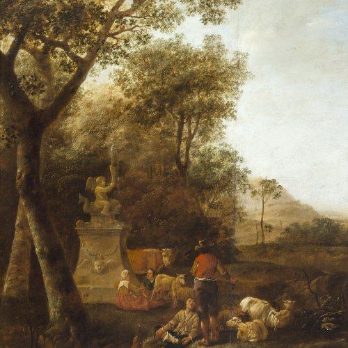Noordt, Jan van. Landschaft mit Hirten. Öl/Holz. 75,6 x 62 cm. Besch., rest. Sign.