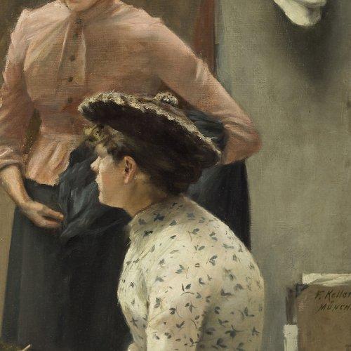 Keller, Ferdinand. Zwei Mädchen mit Hut. Öl/Lw./Hartf. 56 x 31 cm. Min. Besch. Sign.