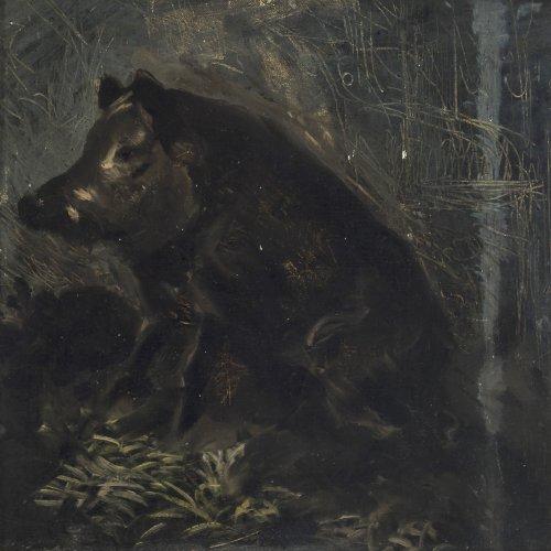 Rayski, Ferdinand, von. Sitzender Keiler. Öl/Karton. 34 x 34,5 cm. Unsign. Rücks. Staatl. Gemäldegalerie Dresden Bestätigung