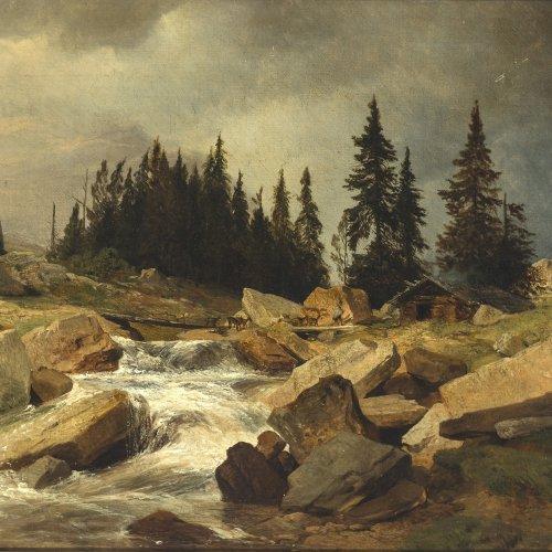 Zimmermann, Albert. Hochgebirge mit Hirten. Öl/Lw. 32 x 51,5 cm. Min. am Rand berieben. Sign., dat. 1850.