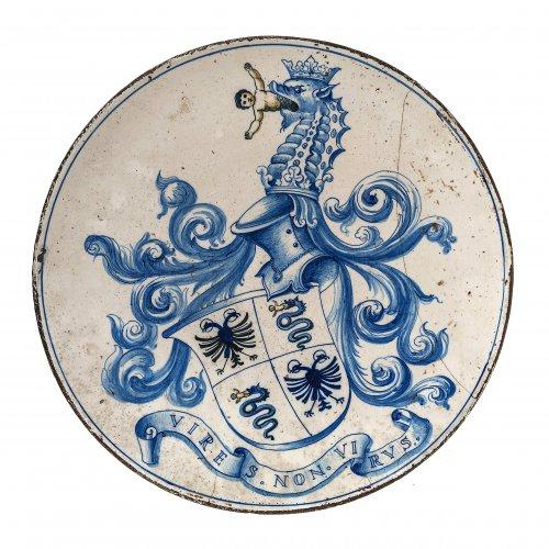 Platte. Wappen des Hauses Visconti.  Toskana, 16. Jh. Majolika, Blaumalerei. ø31 cm.