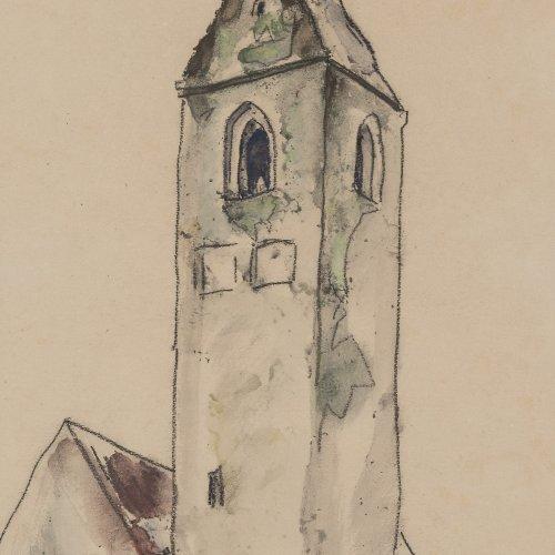 Schröder, Heinrich. Kirchturm. Aquarell. 34 x 25 cm. Sign.