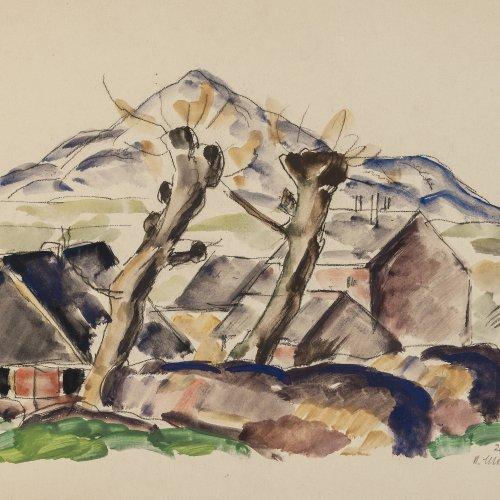 Schröder, Heinrich. Landschaft mit Kopfweiden. Aquarell. 28,5 x 38 cm. Sign., dat. 20.II.20.