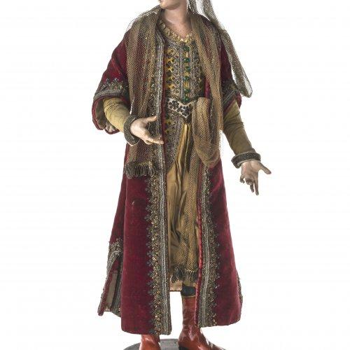 Krippenfigur. Orientalische Prinzessin. Neapel, 18. Jh. Glasaugen, originale Kleidung. H. 39 cm.