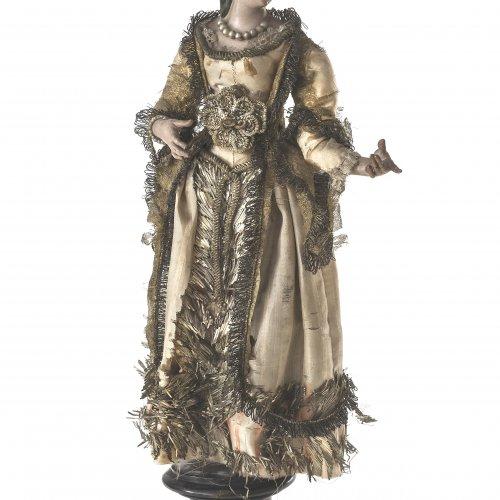 Krippenfigur. Neapel, 18. Jh. Fürstin. Terrakotta, Holz, farbig gefasst, Glasaugen, originale textile Kleidung. H. 35 cm.