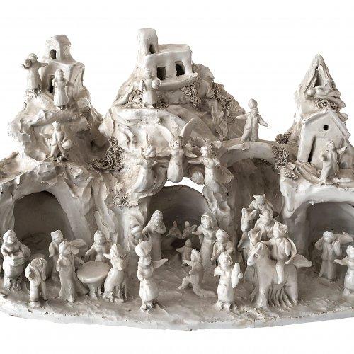 Keramikkrippe, weiß glasiert. Italien(?). H. 20 cm.
