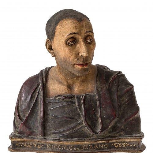 Büste des Niccolo da Uzzano. Toskana, 19. Jh. Terrakotta, farbig gefasst, sog.