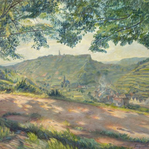 Segieht, Paul. Weinberge bei Bad Dürkheim Öl/Lw. 77 x 87 cm. Sign., dat. 90.