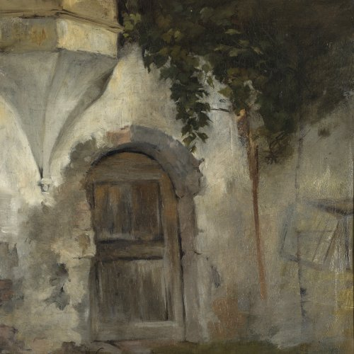 Trübner, Wilhelm von. Studie Heidelberger Schlossruine. Öl/Lw. 51 x 41 cm. Unsign.