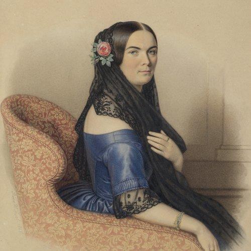 Winsel, Bodo. Sitzende vornehme junge Frau. Aquarell. 28 x 22 cm. Sign.