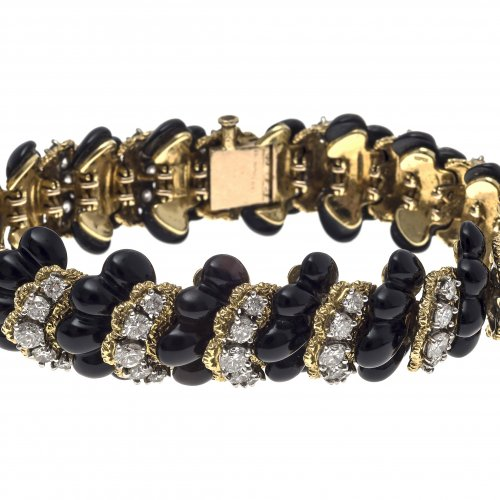 Armband. Onyx/Gold/Brillianten. 14 K GG.