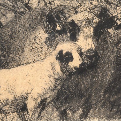 Zügel, Heinrich von. Widder mit Schaf. Kohlezeichnung. 9 x 13,5 cm.