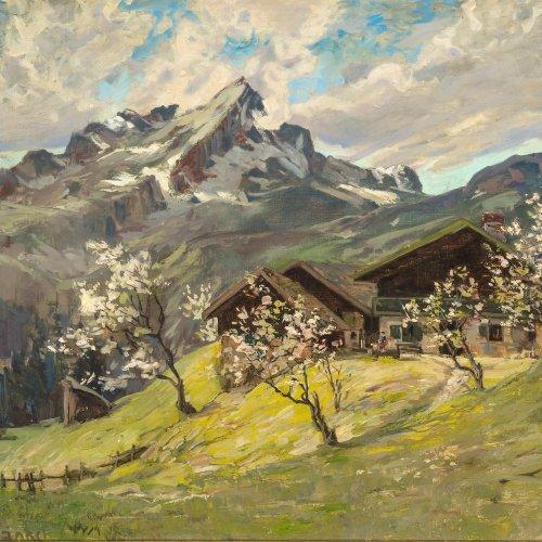 Fränkl, Clemens. Berglandschaft mit Alm. Öl/Lw. 60,5 x 81 cm. Sign.