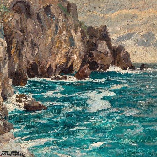 Wenk, Albert. Stürmische Brandung vor der Küste Capris. Öl/Holz. 27 x 30,5 cm. Sign.