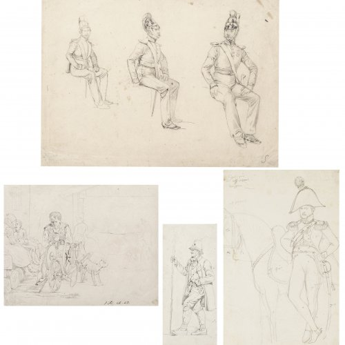 Dietz, Feodor. Konvolut Zeichnungen und Entwürfe. Versch. Größen. Unsign.