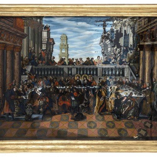 Hinterglasbild: Hochzeit zu Kana