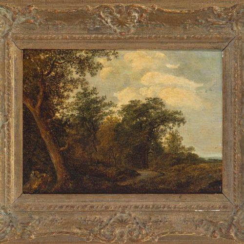 Martin, Martin (1792-1865), zugeschrieben. Öl/Holz. 28 x 40 cm. Waldlandschaft. Weitere Gemälde befinden sich im Schloss Berchtesgaden. Unsign.