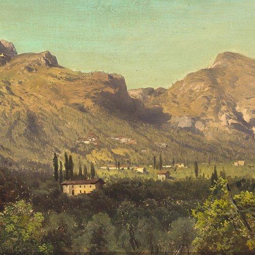 Millner, Carl. Südliche Landschaft. Öl/Lw. 25 x 41 cm. Unsign.