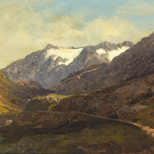 Millner, Carl. Berglandschaft. Öl/Papier/Lw. 27 x 45 cm. Nachlassstempel.