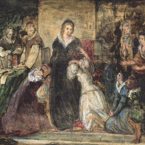 Adamo, Max, zugeschrieben. Abschied der Königin Maria Stuart. Ölskizze. ÖL/Papier.Karton. 18,5 x 23 cm. Unsign.