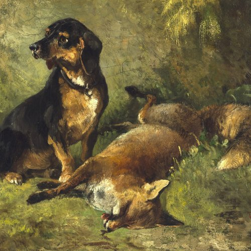 Voltz, Ludwig Gustav. Dachshund mit erlegtem Fuchs. Öl/Lw. 23 x 27 cm. Monogr. Rücks. bez.