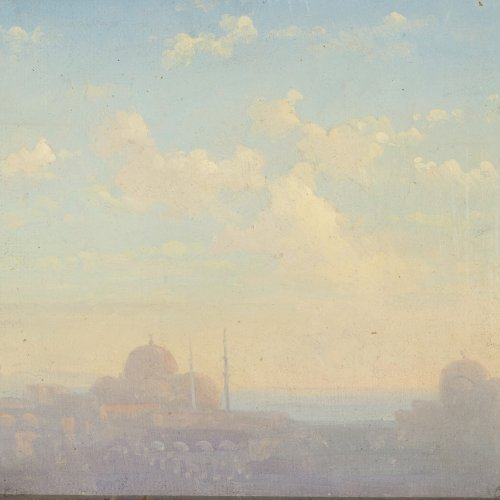 Fiedler, Bernhard. Sonnenaufgang in Istanbul (Konstantinopel). Öl/Lw./Hartfaser. 18 x 25 cm. Sign.