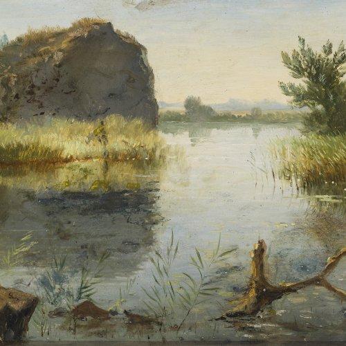 Müller, Emma von. Oberbayerische Seenlandschaft. Öl/Holz. 18,5 x 26,5 cm. Sign.