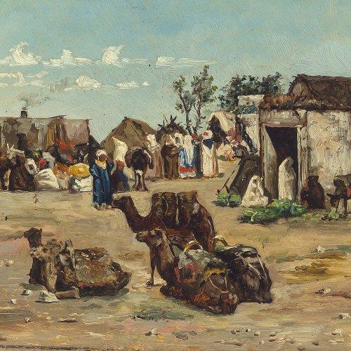 Gallegos, Jose Y Arnosa. Lagernde Karawane in der Wüste. Öl/Holz. 16 x 21,5 cm. Rest., sign., dat.