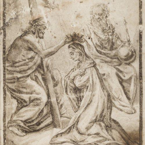 Fromiller, Joseph, Ferdinand, zugeschrieben. Krönung Mariä. Tusche/Feder. 20 x 15 cm.