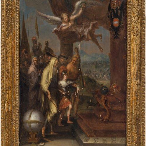 Sperling, Johann Christian, zugeschrieben. Junger Prinz wird zum Thron geführt.