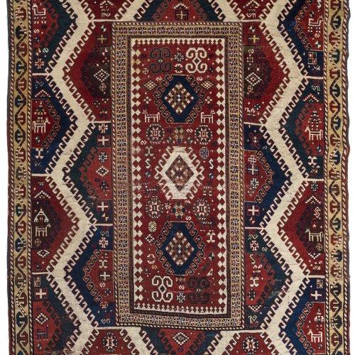 Teppich. Kasak, 19. Jh. 223 x 184 cm. Gebrauchsspuren, rep.