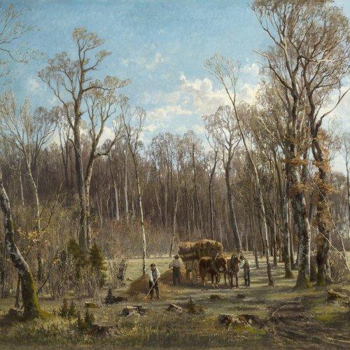 Baisch, Hermann. Heuernte auf einer Waldlichtung, um 1871. Öl/Lw. 80 x 115 cm. Doubl., rest., sign.