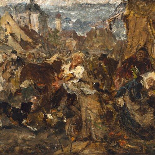 Fauber du Faur, Otto von. Marktszene. Öl/Holz. 16,5 x 24,5 cm. Sign.