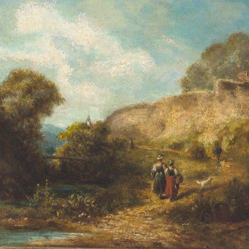 Spitzweg, Carl, Umkreis. Zwei Bauernmädchen auf dem Weg zur Kirche. Öl/Karton. 18 x 24 cm. Rest., unten rechts Restsign. (Rhombus?).