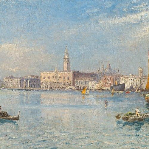 Ziem, Felix, zugeschrieben. Blick auf Venedig, mit Santa Maria della Salute. Öl/Lw. 32 x 70 cm. Rest., sign.