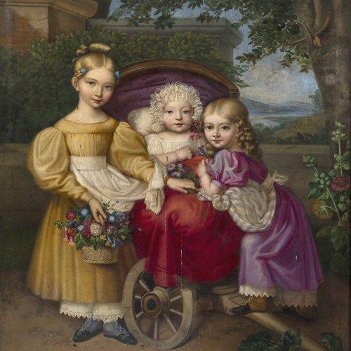 Melzer, Ludwig. Porträt dreier Kinder. Öl/Lw. 120 x 94. Besch. Sign., dat., 1831. Originaler Rahmen.