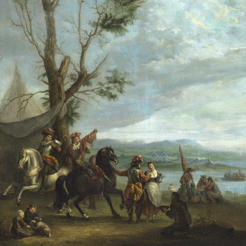 Falens, Carel van. Soldaten mit Pferden und Marketenderin. Öl/Holz. 37 x 36 cm. Rest., besch., sign. Rücks. Klebeetikett.