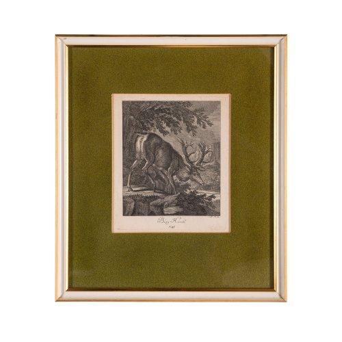 Ridinger, Johann Elias. Drei Kupferstiche Hirschmotive (Nr. 47, 48, 55). Je 18 x 15 cm.