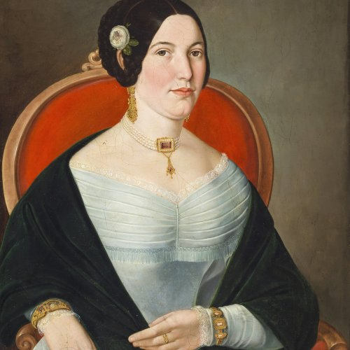 Keil, Friedrich. Mädchenporträt. Öl/Lw. 60 x 47 cm. Rest. Sign., dat. 1848