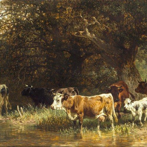 Voltz, Friedrich. Kühe am Wasser. Öl/Holz. 95 x 40 cm. Rest. Sign.