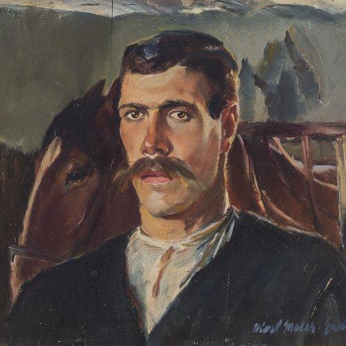 Maier-Erding, Hiasl. Selbstporträt. Öl/Holz (Ahorn). 46,5 x 49,5 cm. Sign.,